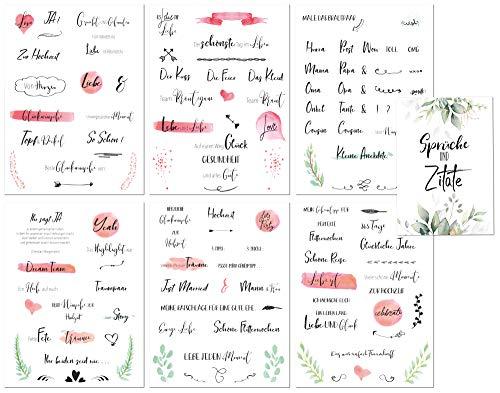 Gästebuch Hochzeit Sticker - Schönes Handlettering Watercolor Design + Inspirationsheft mit Sprüchen und Zitaten