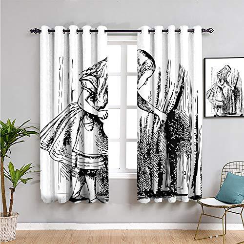 Pcglvie Alice in Wonderland - Cortinas oscuras (160 cm de largo, diseño de Alicia en blanco y negro con miras a través de las cortinas de puerta oculta, aventuras, tela impermeable, 132 x 163 cm)