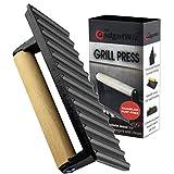 GADGETWIZ Enameled Bacon Press- Anti Rust Cast Iron Grill Press- Meat Press- Burger Press-...