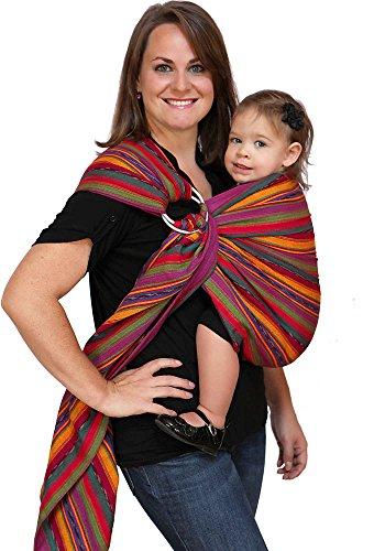 Maya Wrap Lightly Padded Ring Sling Baby Carrier - Bright Stripes - Medium