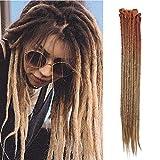 24'(60cm) SEGO 10PCS Dreadlocks Extensiones Rastas de Pelo Sintético para Trenzas Africanas [Castaño Caoba Claro a Castaño Claro] Cabello Se Ve Natural Crochet Twist Braiding Hair