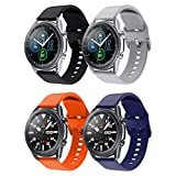 GOSETH Bands Compatible with Samsung Galaxy Watch 3 45mm, 22mm Silicone Wirst Buckle Strap for Samsung Galaxy Watch 3 45mm SmartWatch (Black+Grey+Orange+Blue)