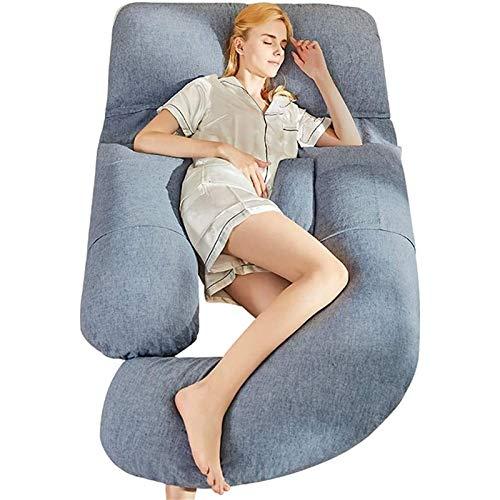 ldl Almohada de Embarazo en Forma de U, Almohada de Maternidad de Cuerpo Completo, con Tapa de algodón Lavable. Tela Fresca de Verano, para Alivio Lateral para Dormir y Espalda.