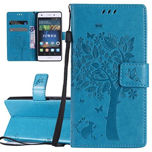 ISAKEN Compatibile con Huawei P8 Lite Custodia, Libro Flip Cover Portafoglio Wallet Case Albero Design Tinta Unita Caso in Pelle PU Protezione Caso con Supporto di Stand/Carte Slot/Chiusura - Blu