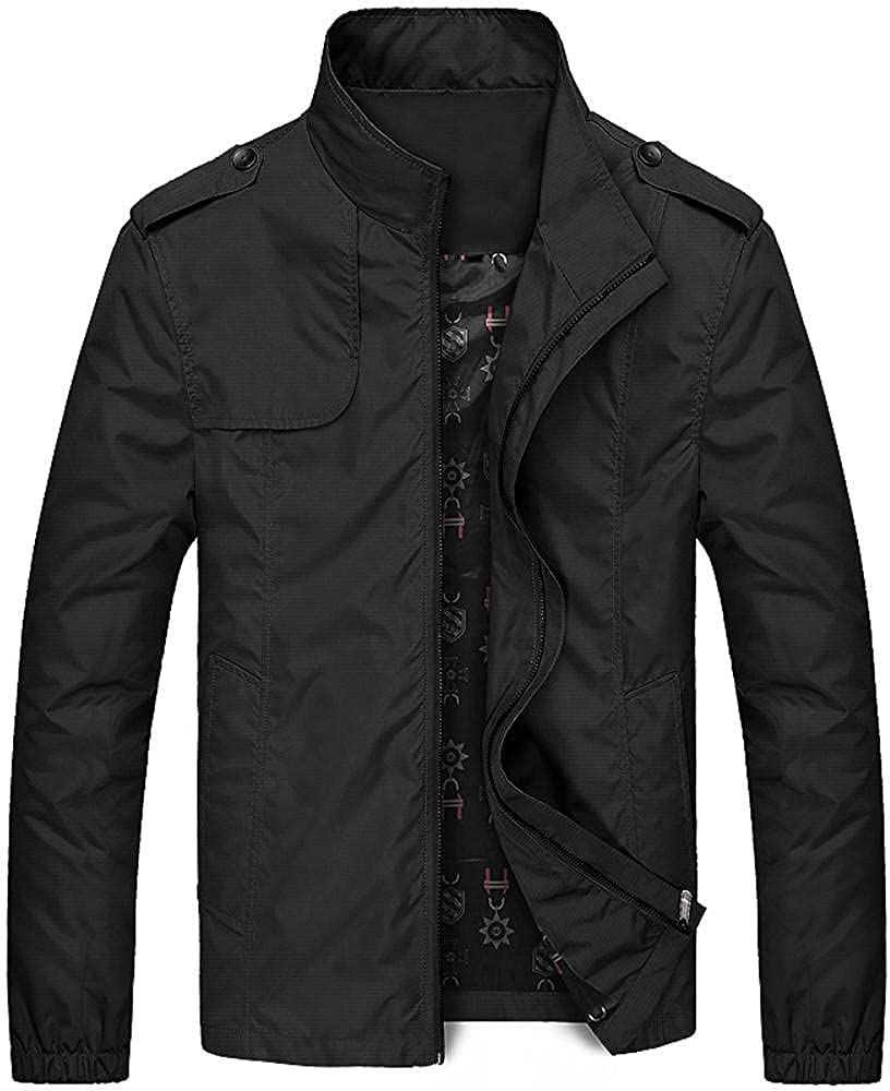 Men's Casual Jacket Windbreak Outwear Zipper Stand Collar Pocket Pure Color Lightweight Coat for Autumn Winter