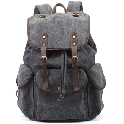 BAOSHA CN-01 Stilvolle Canvas Vintage Rucksäcke Damen Herren Schulrucksack Retro Backpack für Campus Studenten und Outdoor Reisen Wandern mit Großer Kapazität (grau)