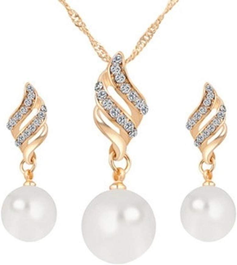WEILYDF Exquisite Charming Pearl Spiral Necklace Earring Set Wedding Birthday Jewelry Women Gift,Golden