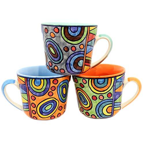 Gall&Zick XL Tasse Set/3 Blau Orange Grün Kaffeetasse Teetasse Geschirr Keramik Bemalt Bunt