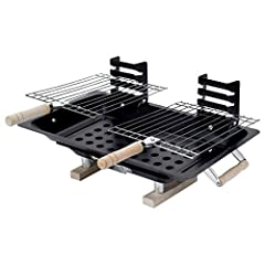 The perfect sized barbecue grill for small balcolnies, patio's, decks and travel Single adjustable air vent for controlling charcoal burn rates - Racks can be placed at three different heights above coals Wooden handles for easy carrying - Adjustable...