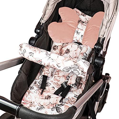 Sitzauflage Kinderwagen Einlage - Buggy Auflage Sitzeinlage für Kindersitz atmungsaktiv universal Set mit Gürtelschutz 75 x 35cm
