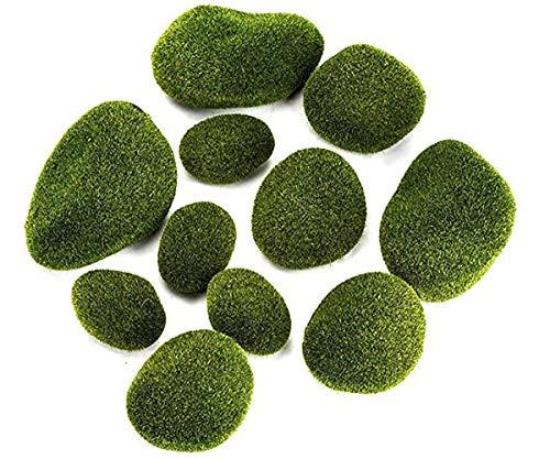 TYTF Piedras de musgo de micropaisaje decoración de artificial para patio de cuento de hadas arreglos florales recipiente de cristal artesanía color verde 12 unidades por set