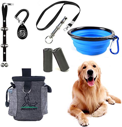 SSRIVER Puppy Training Kit 6-teilige einstellbare Welpentorbellells für Hunde Trainingstasche Pfeife zur Kontrolle Stop Barking Dog Bowl und Poop Bag Pet Trainer Hundetraining Set Clicker