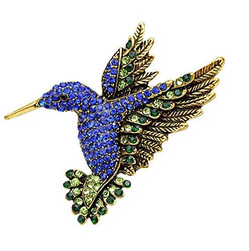 Broche de pájaro colibrí de acero y pedrería de cristal azul dominante.