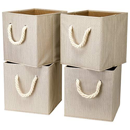 i BKGOO Juego de 4 Cubos de Tela Plegables Para Almacenamiento, Organizador de Cajas de Almacenamiento con asa de Cuerda Para el Hogar, la Guardería y más, color Bambú beige 26,5x26,5x28 cm