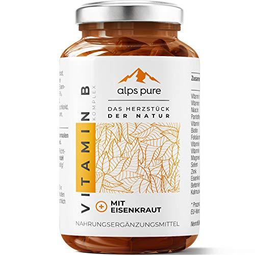 Vitamin B Komplex Plus + Eisenkraut-Extrakt und Magnesium Kapseln alps pure | innovativer Alpenkräuter-Mikronährstoff-Mix | 100% vegan, sojafrei und glutenfrei | 60 Stück HPMC-Kapseln