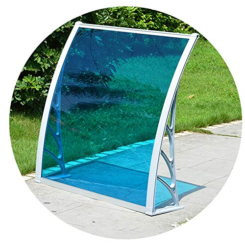 Auvent De Porte Et Fenêtres Store Marquise Solaire Auvent PC en Polycarbonate Feuille Protégée UV- Auvent De Voûte De Patio Couverture De Toit D'ombre Extérieure (Color : Blue, Size : 120x100cm)