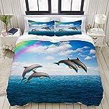 1203 Funda nórdica Blue Hawaii Pack Springende delfines bellos Seelandschaft Arco Iris Profundas animales Wildlife Dolphin Parks Agua Juego de ropa de cama cómodo y ligero Sets