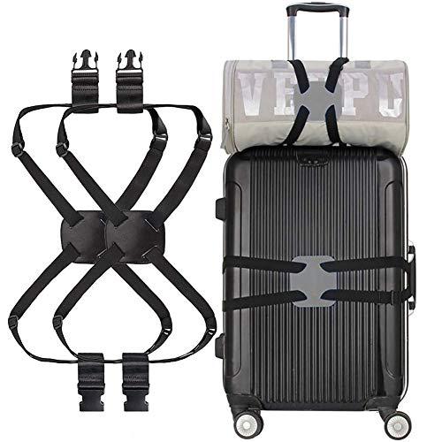 Koffergurte mit Schnallen 2 Stück Elastischer Verstellbarer Stabiler Gürtel für Rollenkoffer Reisegepäck-Gürtel für Reisen und Business (schwarz)