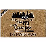 MsMr - Zerbino con scritta 'Happy Camper' con nome di famiglia, antiscivolo, per interni ed esterni, 59,9 x 39,9 cm