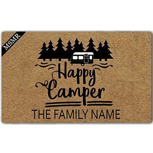 MsMr Felpudo personalizado con monograma Happy Camper con nombre de familia, antideslizante, para interior y exterior, 23.6 x 15.7 pulgadas