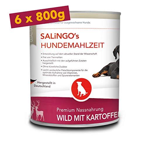 SALiNGO Hundefutter nass, Wild mit Kartoffel und Zucchini, getreidefrei (6x800g)