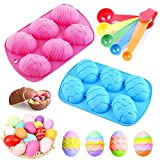 2 Pieces 3 D Easter Egg Shape Silicone Cake Candy and Chocolate Mold and 5 pieces Measure Spoons Set