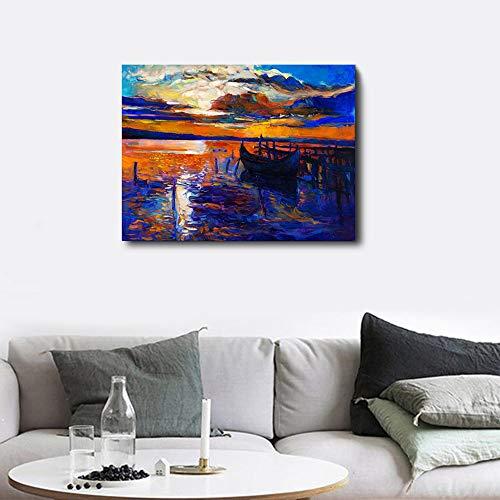 Lienzo pintura caligrafía arte abstracto mar puesta de sol póster e imprimir pintura mural de la sala de estar decoración del dormitorio40x30cm sin marco