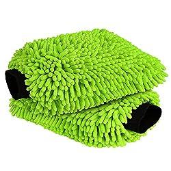 in budget affordable AIDEA Car Wash Mitt Microfiber Scratch and Lint Free, Premium Chenille Microfiber Wash Mitt Green …