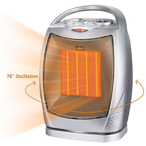 Oscillating Portable Ceramic Space Heater, Electric Heater with Thermostat Overheat Protection & Tip-Over Protection,750/1500W Personal Heater with Carrying Handle for Home Office Indoor Heater Oscillating Space