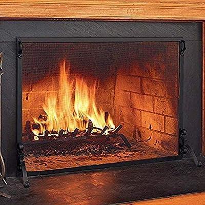 "Plow & Hearth 36160-BK Solid Steel Flat Guard Fire Screen, 44"" W x 33, Black from Plow & Hearth"