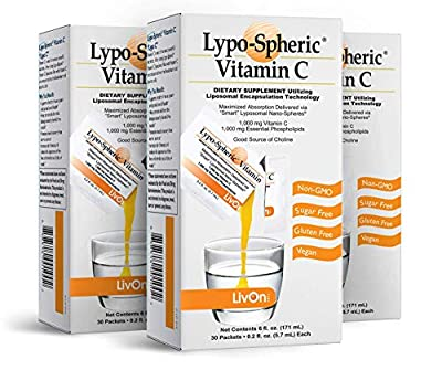 Lypo–Spheric Vitamin C – 3 Cartons (90 Packets) – 1,000 mg Vitamin C & 1,000 mg Essential Phospholipids Per Packet – Liposome Encapsulated for Improved Absorption – 100% Non–GMO from LivOn Laboratories