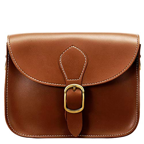 Vintage crossbody saddle bag with magnetic snap button on the front flap + zipper closure for safely opening, double layer leather material for protection of both sides and bottom of the bag. High quality special bronze-toned hardware revealed silver...
