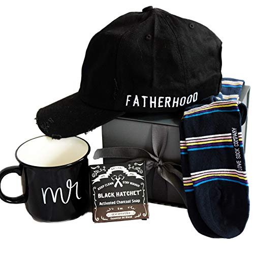 Milky Chic Gift Box For Fathers- Pack of 4 Variety Gifts for Dad's Birthday with Daddy Hat, Activated Charcoal Soap, Ceramic Coffee Mug, and Striped Cotton Socks