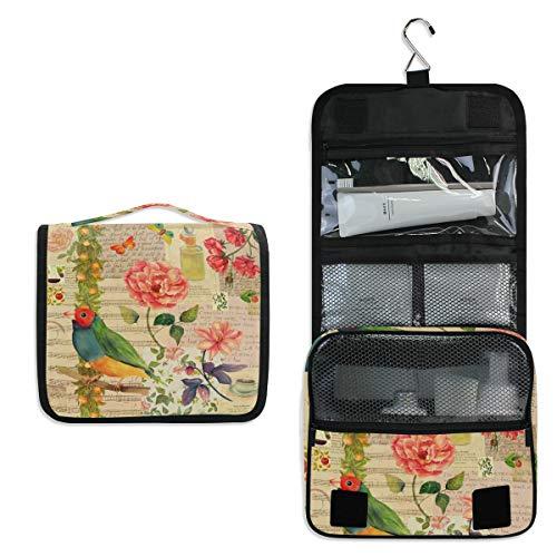 ALarge Trousse de toilette à suspendre Motif floral Rose Animal Bird Wash Gargle Grand sac portable Voyage Cosmétique Trousse de maquillage Organisateur pour femmes et hommes