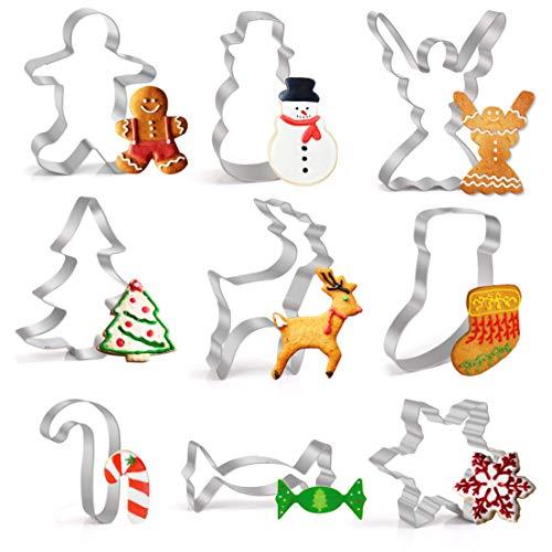 Joyoldelf Ausstechformen Weihnachten Edelstahl Ausstecher Set für Fondant Sandwiches Brot Plätzchen Halloween Tortendekorationen, 9 Stück