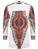 COOFANDY Men's African Dashiki Print Shirt Long Sleeve Button Down Shirt Bright Color Tribal Top Shirt (M, White)