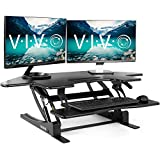 VIVO Black Corner Height Adjustable 43 inch Cubicle Standing Desk Converter, Quick Sit to Stand Tabletop Dual Monitor Riser, DESK-V000VC