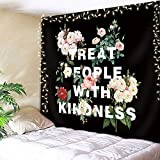 AMBZEK Treat People with Kindness Quote Tapestry 59Hx78W Inch Boutique Retro Positive Motivational Floral Leaves Black Artwork Wall Hanging Bedroom Living Room Dorm Decor Fabric