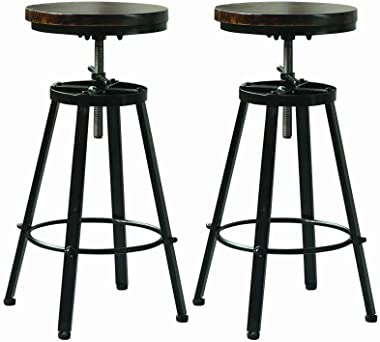 Bar Stools Set of 2,Adjustable Counter Height Stool Chair for Kitchen Counter,Swivel Rustic Counter Stools -Solid Wood Seat