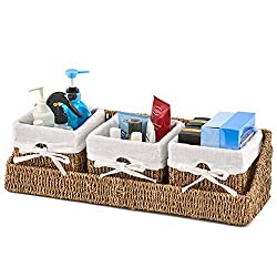 EZOWare Seagrass Wicker Shelf Basket Storage Container Nesting Bins with Wall Mountable Tray and Removable Liners - Set of 3