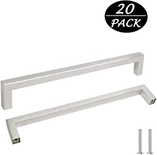 Probrico Square Corner Bar Kitchen Cabinet Door Handles and Knobs Nickel Brused Drawer Pulls Barthroom Bedroom Furniture Handles Stainless Steel Hole Centers 7.5 inch 192mm 20 Pack