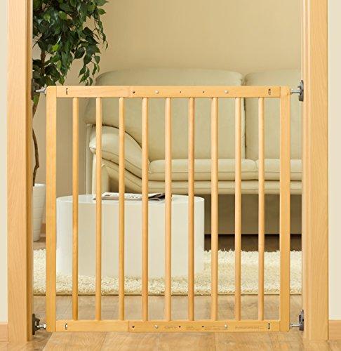 Reer 46211 - Puerta de seguridad para niños con cerrojo, 106 cm, color: madera - natural