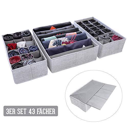SIMPLE JOY Schubladen Organizer für I K E A Malm; Stabiler Boden; Stoffboxen 3er Set für Socken, T-Shirts, Krawatten, Unterwäsche; Aufbewahrungsboxen, Ordnungssystem, grau