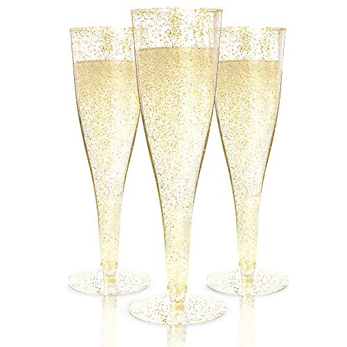 100 Plastic Champagne Flutes Disposable | Gold Glitter Plastic Champagne Glasses for Parties | Glitter Clear Plastic Cups | Plastic Toasting Glasses | Mimosa | Wedding and Shower Party Supplies