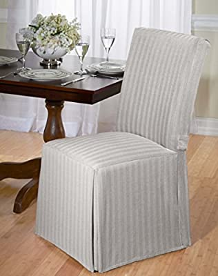 Luxurious Dining Chair Cover, Herringbone, Beige, Grey, and Red