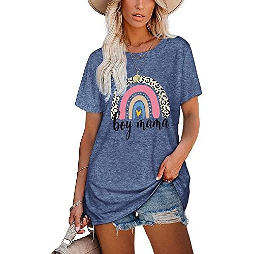 Camiseta Mujer Larga Suelta Cómoda Moda Estampado De Arco Iris Cuello Redondo Manga Corta Verano Citas Vacaciones Casual Mujeres Tops F-Light Blue XXL