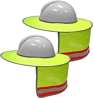 2 Pack Hard Hat Sun Shield, QIUYE High Visibility Neck Sunshade Full Brim Mesh for Hardhats, Reflective, Sun Protection (Yellow)
