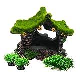 Smoothedo-Pets - Decoración para acuarios pequeños y pequeños adornos para peces (casa pequeña con juego de hierba)