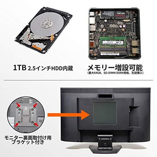 『Skynew 小型パソコン ミニPC Core i7-8565U / メモリ 8GB DDR4L / ストレージ 256GB SSD、1TB HDD / Windows10 Pro / 4K対応 2画面同時出力 PXEブート WOL RTC 高速 小型PC デスクトップ ミニパソコン 品番K6』の6枚目の画像