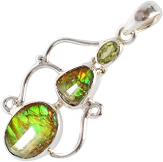 925 Sterling Silver Jewelry FSJ-3825 Ravishing Impressions Trendy Natural Red Flashy Ammolite Gemstone Pendant Womens Jewellery Yellow Fire